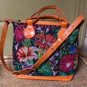 Handbags - Leather and hand embroidered floral tote bag